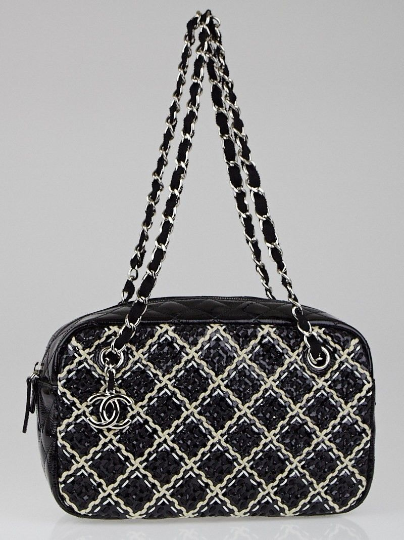 Chanel Black White Woven Fabric Patent Leather Diamond Stitch Camera Case Bag Used Chanel Bags Chanel Bag Chanel Black