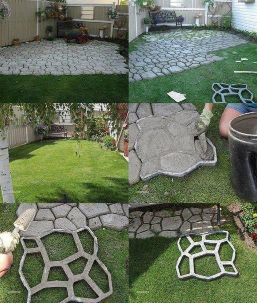 Awesome Neat Way To Make An Inexpensive Walkway Or Patio. I Wonder Where The Mold  Comes From. I Would Probably First Level The Ground.