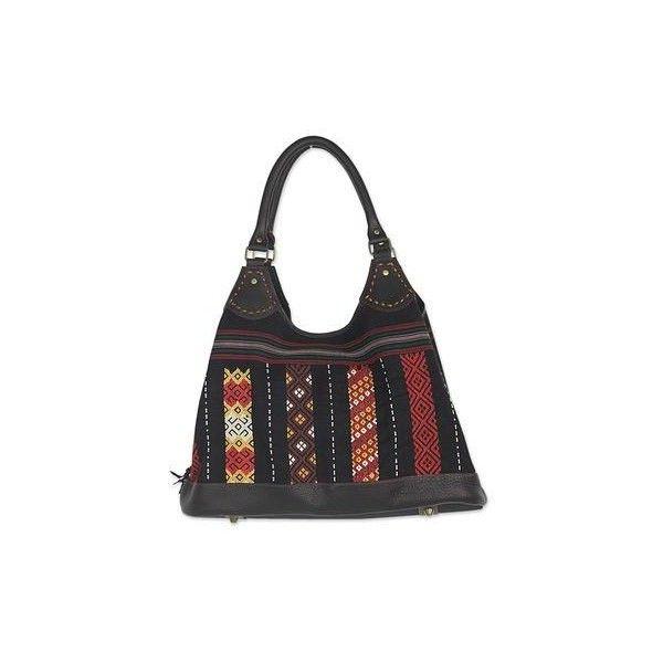 Novica Cotton shoulder bag, Antique North - Handmade Striped Cotton Shoulder Bag