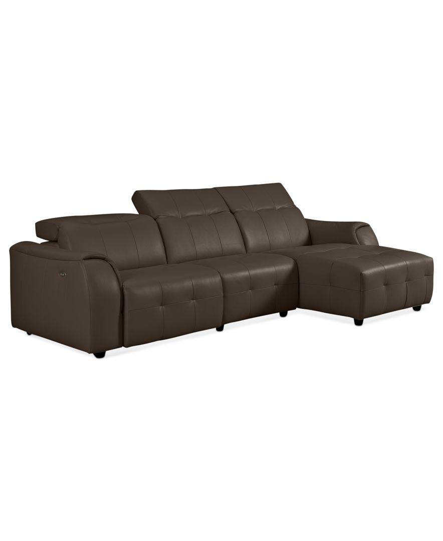 Novara Leather Reclining Sofa 3 Piece Power Recliner