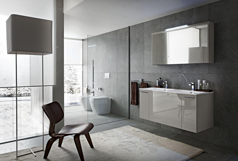Bagno play con finitura laccato lucido grigio chiaro gl 4 - Bagno moderno grigio ...
