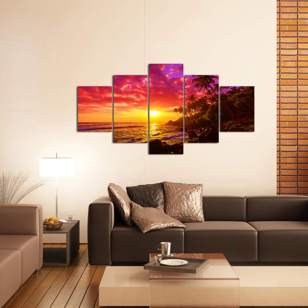 Levvarts large 5 piece painting purple sunset on beach