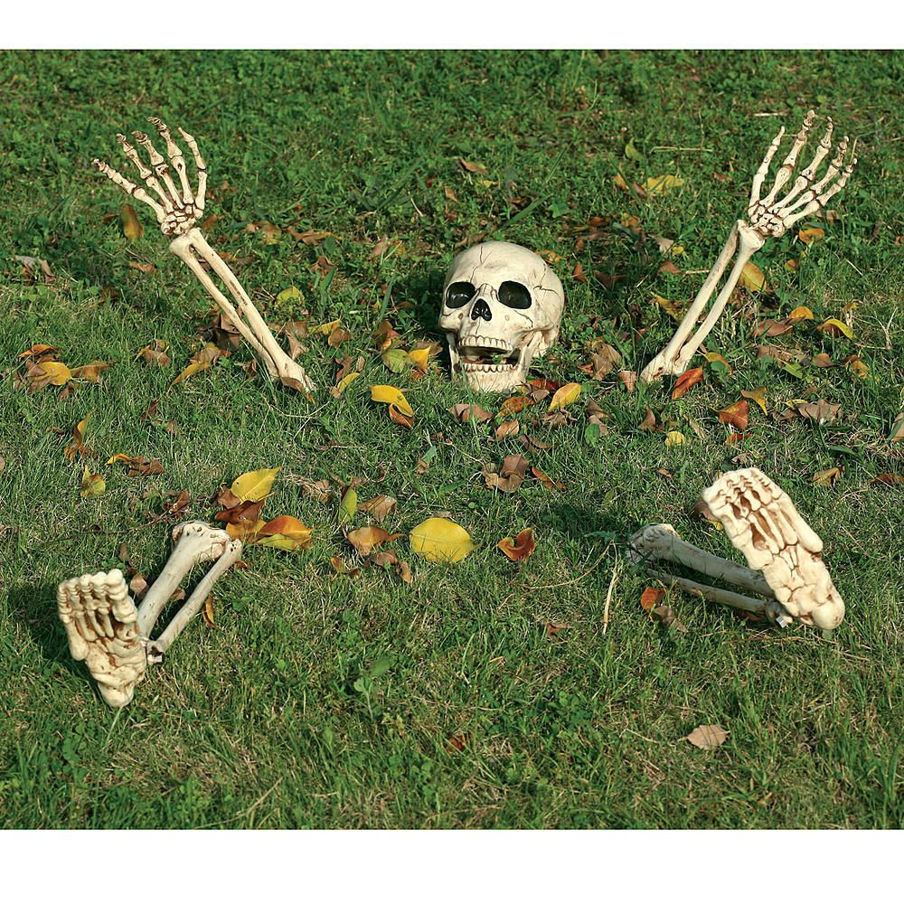 Halloween Creepy Scary Skull Skeleton Hands Prop Spooky Yard Lawn - Halloween Graveyard Decorations