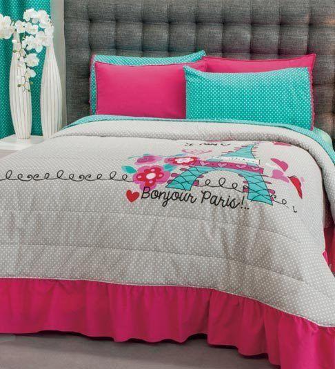 New Teens Girls Aqua Blue Pink Gray Love Paris Bedspread Bedding