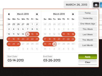 Date Range Picker | DashApp | Ui patterns, Dashboard ui, Web