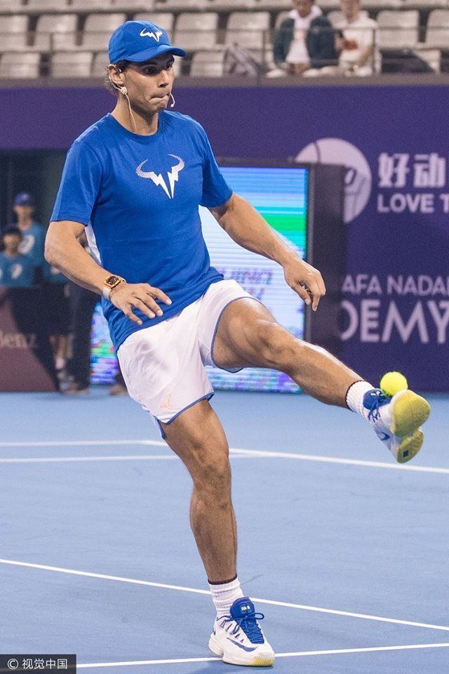Nadal Challenged Local Chinese Football Stay Hao Haidong To A Football Match Via China Open Rafael Nadal Tennis Champion Tennis Players