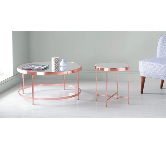 Buy Collection Round Glass Top Coffee Table   Copper Plated At Argos.co.uk