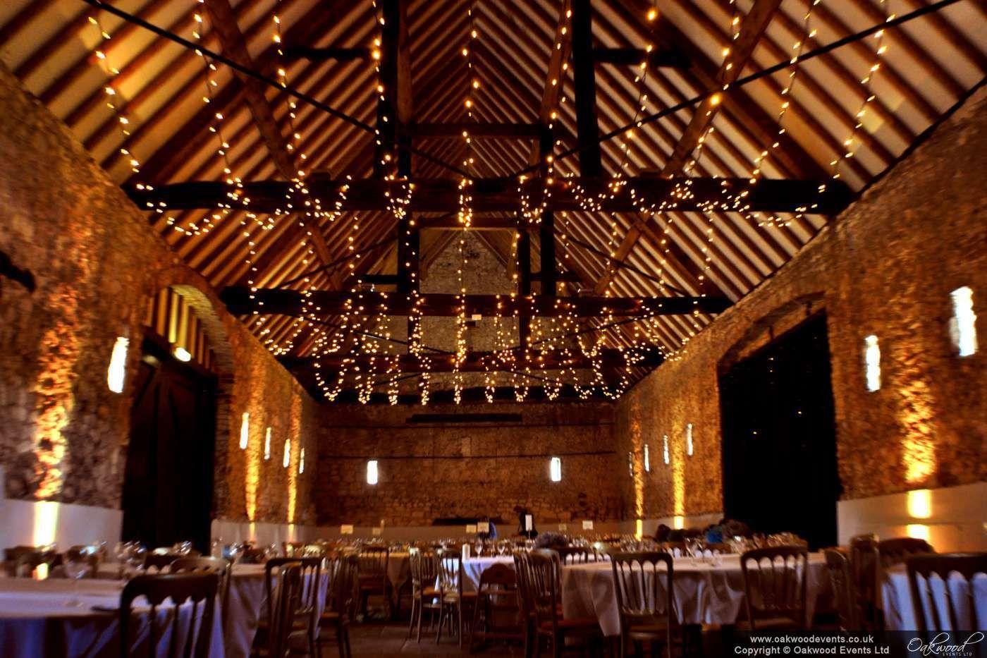 Fairy Light Ceiling: Barn Fairy Light Ceiling with Gold Uplighting,Lighting
