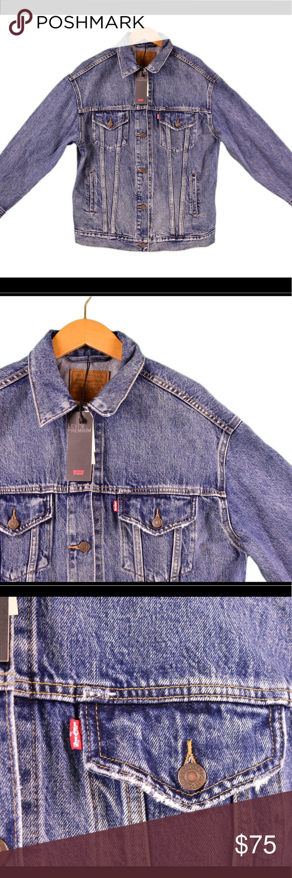 Men's Levi denim jacket Men's Levi denim trucker style ...