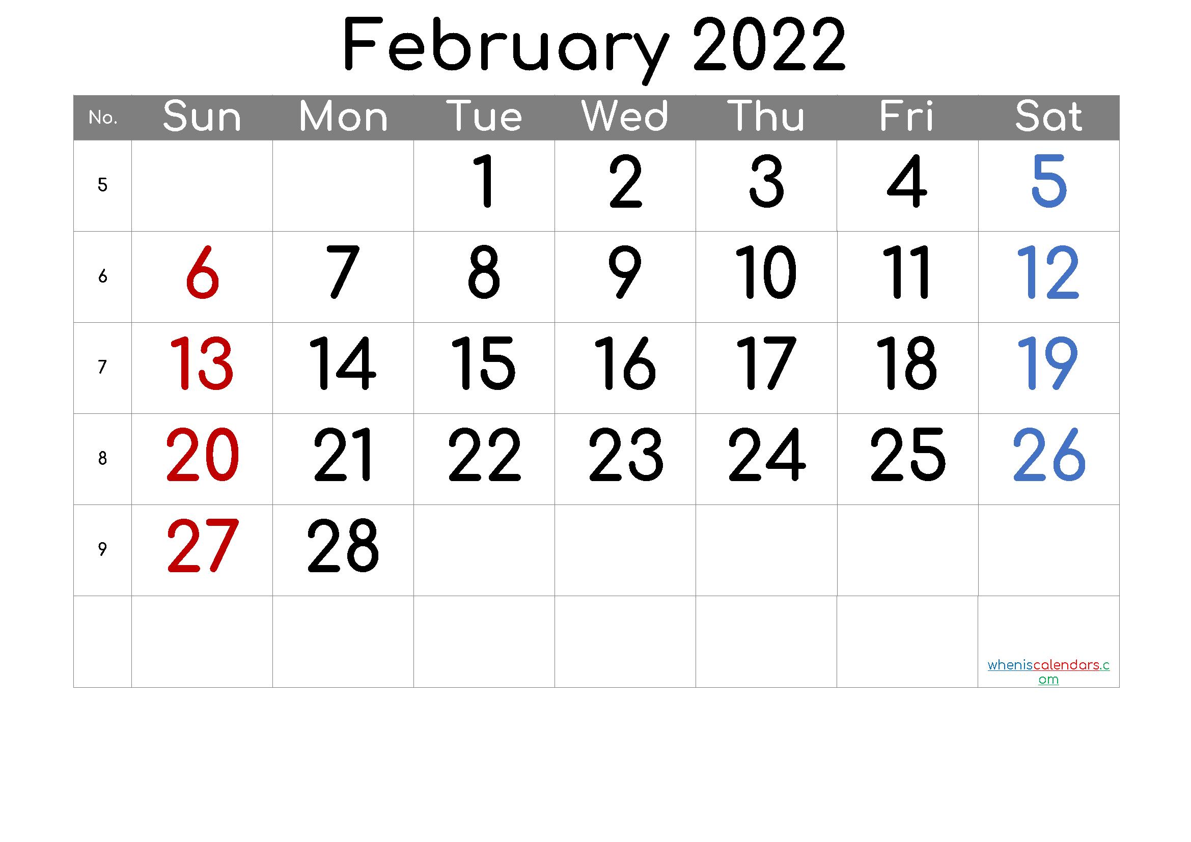 February 2022 Printable Calendar 6 Templates In 2020 Calendar With Week Numbers Free Printable Calendar Printable Calendar Template