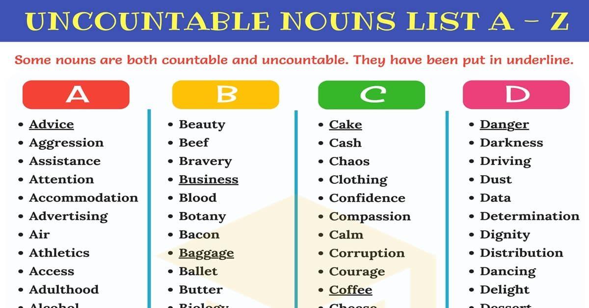 Uncountable Nouns List