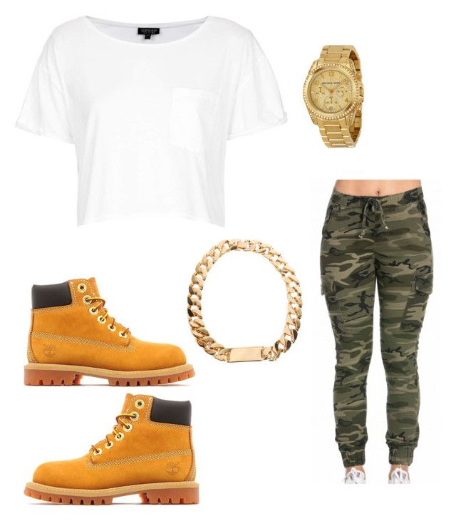 """""""Untitled #818"""" by tanasia2266 ❤ liked on Polyvore featuring Topshop, Timberland and Michael Kors"""