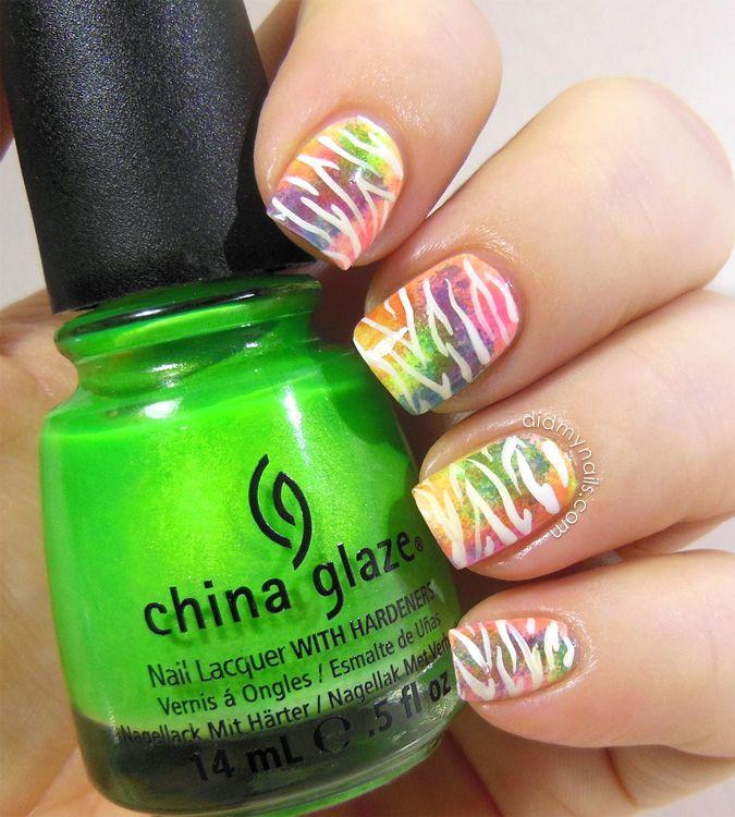 Neon Zebra Nail Art - Did My Nails | Nail designs 2 | Pinterest ...