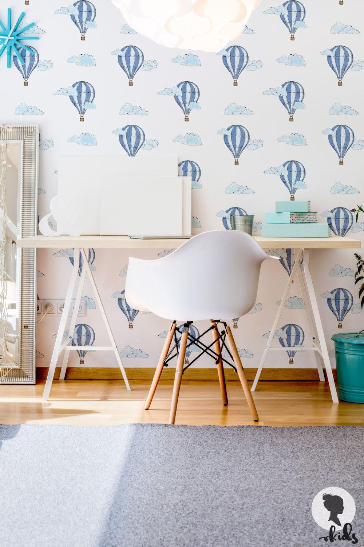 d348d67ce3b5c Watercolor Air Balloon Removable Wallpaper, Baby Boys Nursery Room ...