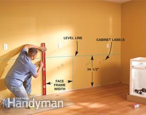 How to Install Kitchen Cabinets - Installing kitchen cabinets, Diy kitchen cabinets, Kitchen remodeling projects, Installing cabinets, New kitchen cabinets, Kitchen cabinets - With these basic techniques, you can learn how to install kitchen cabinets straight, solid and true