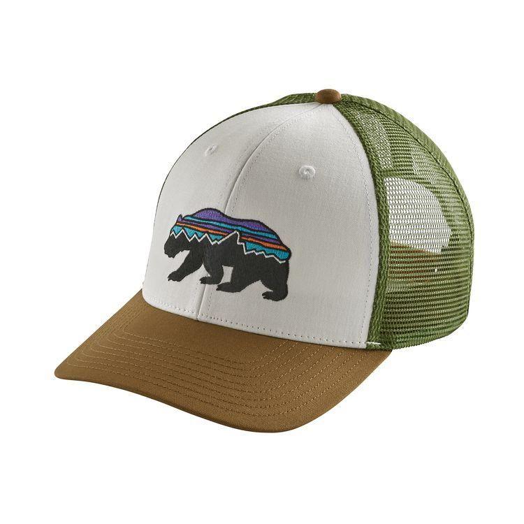 3da1e09ece4 Patagonia Fitz Roy Bear Trucker Hat - White w Cori… -  USTrailer ...
