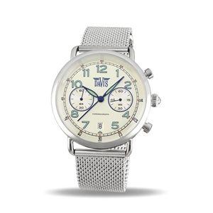 Montre Pilote Homme Chronographe Rétro Cadran Beige Bracelet Mesh Davis 2123MB