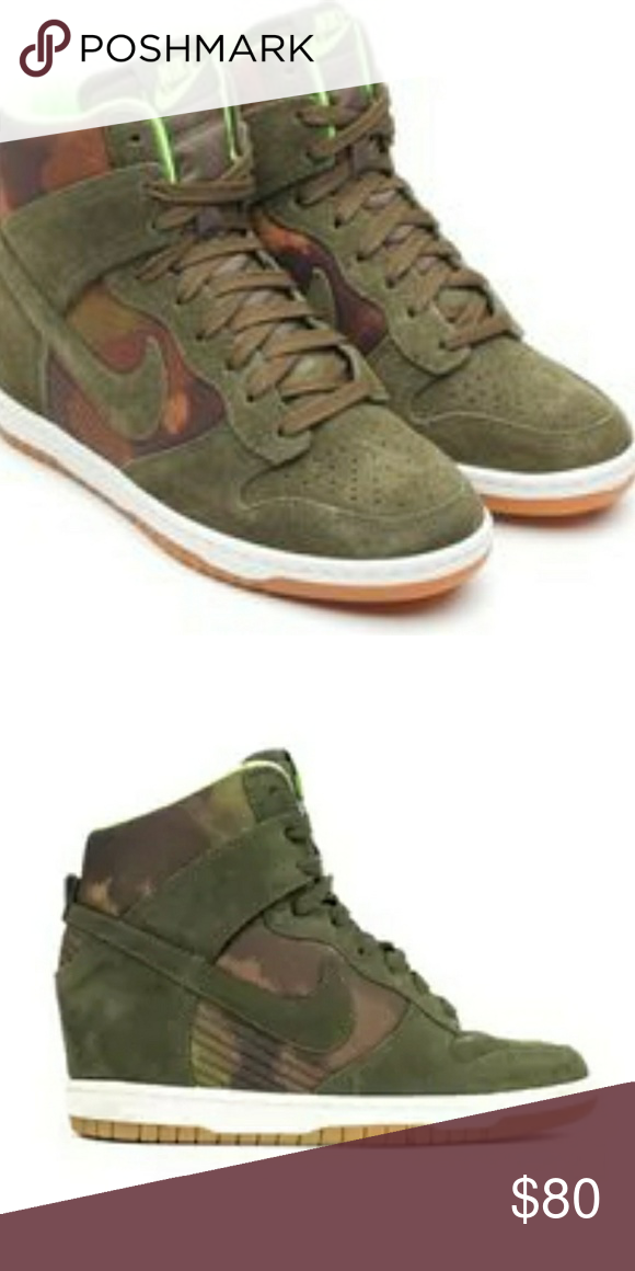best service ecd53 eaffb Ladies Nike Dunk Sky Hi Size 11 Ladies Nike Dunk Sky Hi Camo print wedges.  Light green interior. I have Wedge heel. These have been worn a couple of  times.