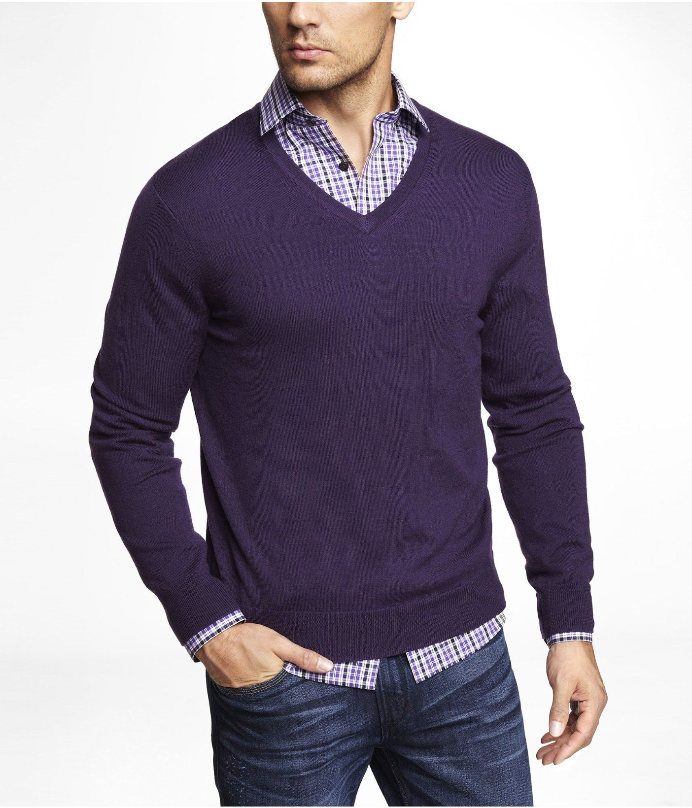 MERINO WOOL V-NECK SWEATER | Express... Now for only $23.99 ...