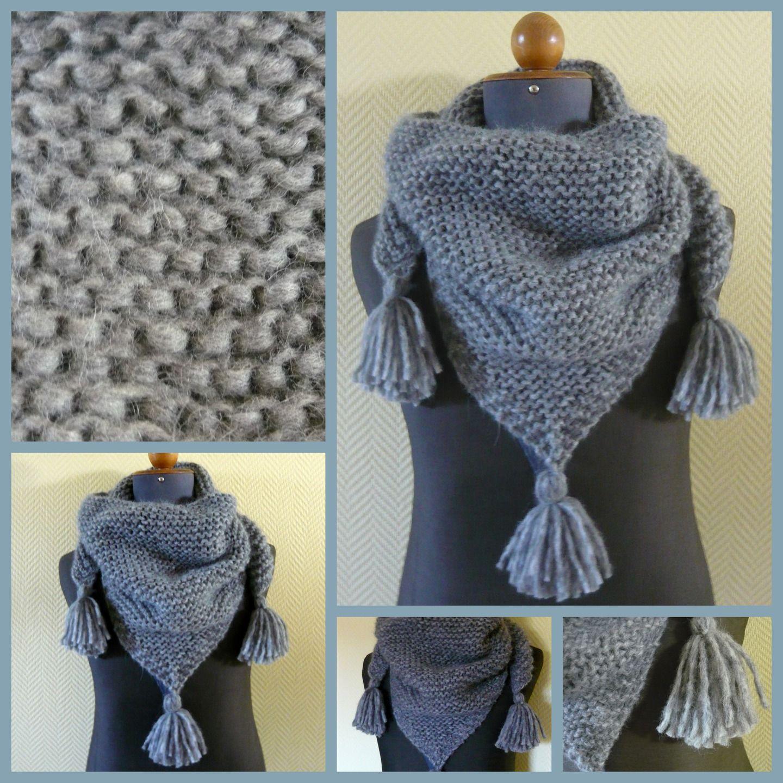écharpe femme tricotée main en laine   Echarpe, foulard, cravate par les- tricots-de-debo fd146e89f65