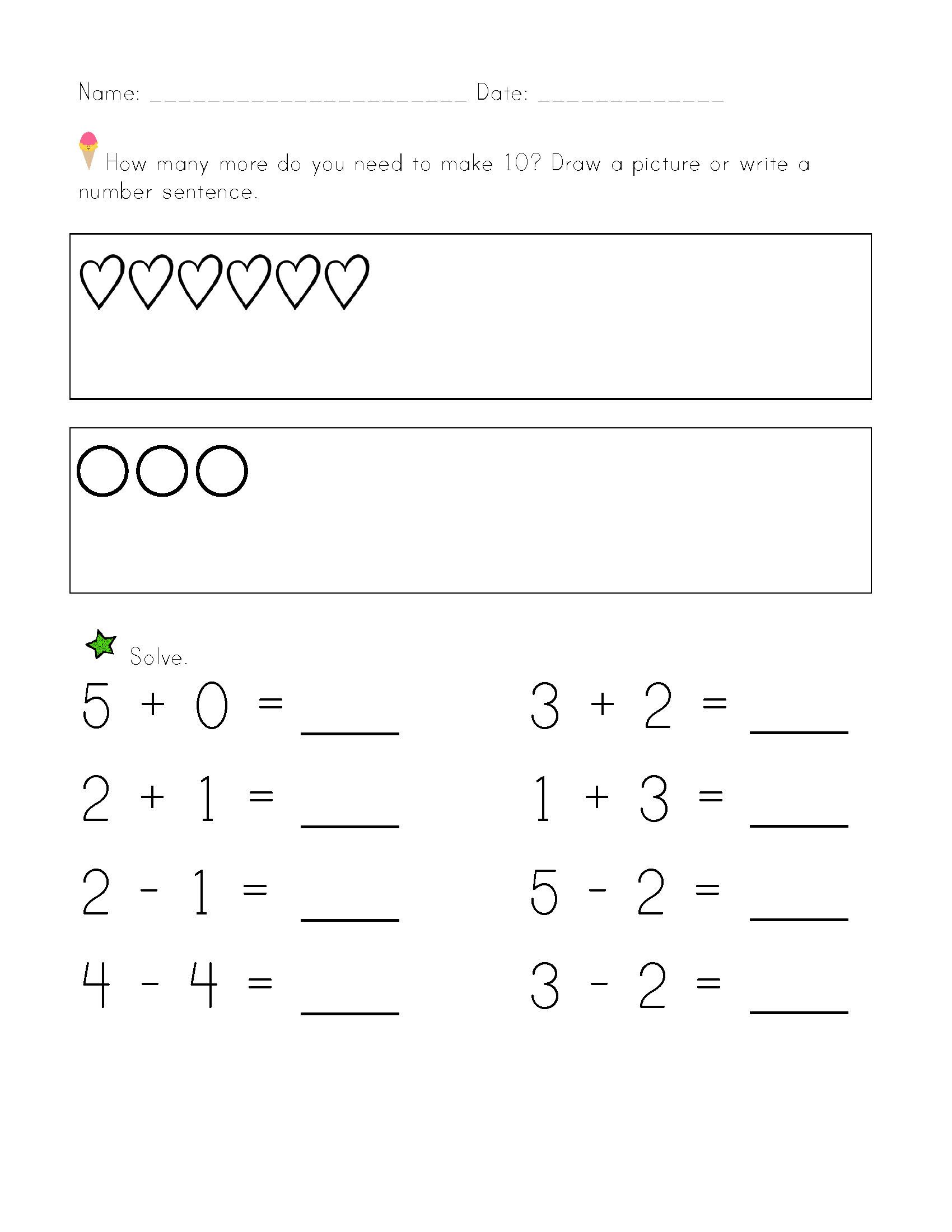 Algebraic Thinking Worksheets For Kindergarten   Printable Worksheets and  Activities for Teachers [ 2200 x 1700 Pixel ]