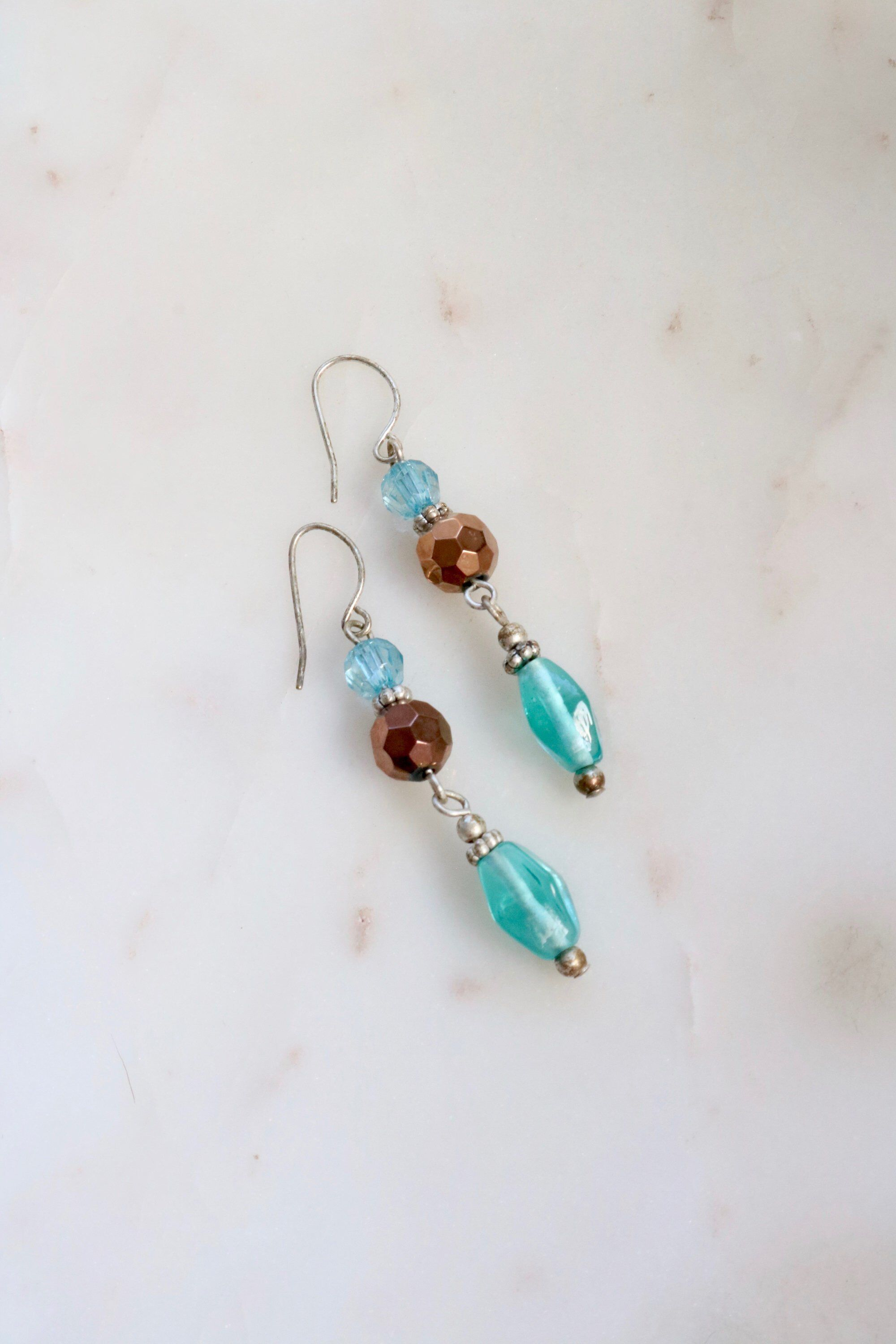 Gorgeous singed vintage glass beads and sterling silver clip on earrings