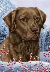 Chesapeake Bay Retriever - Tamara Burnett Winter Berries Flag