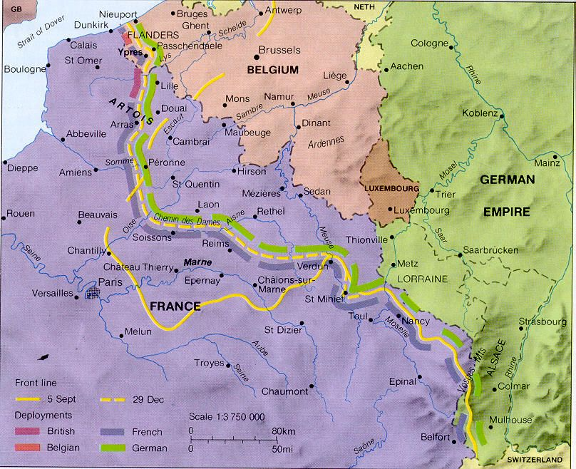 Map Of France During Ww1.Map Of The Western Front During Ww1 Thinglink Wwi Maps Of France