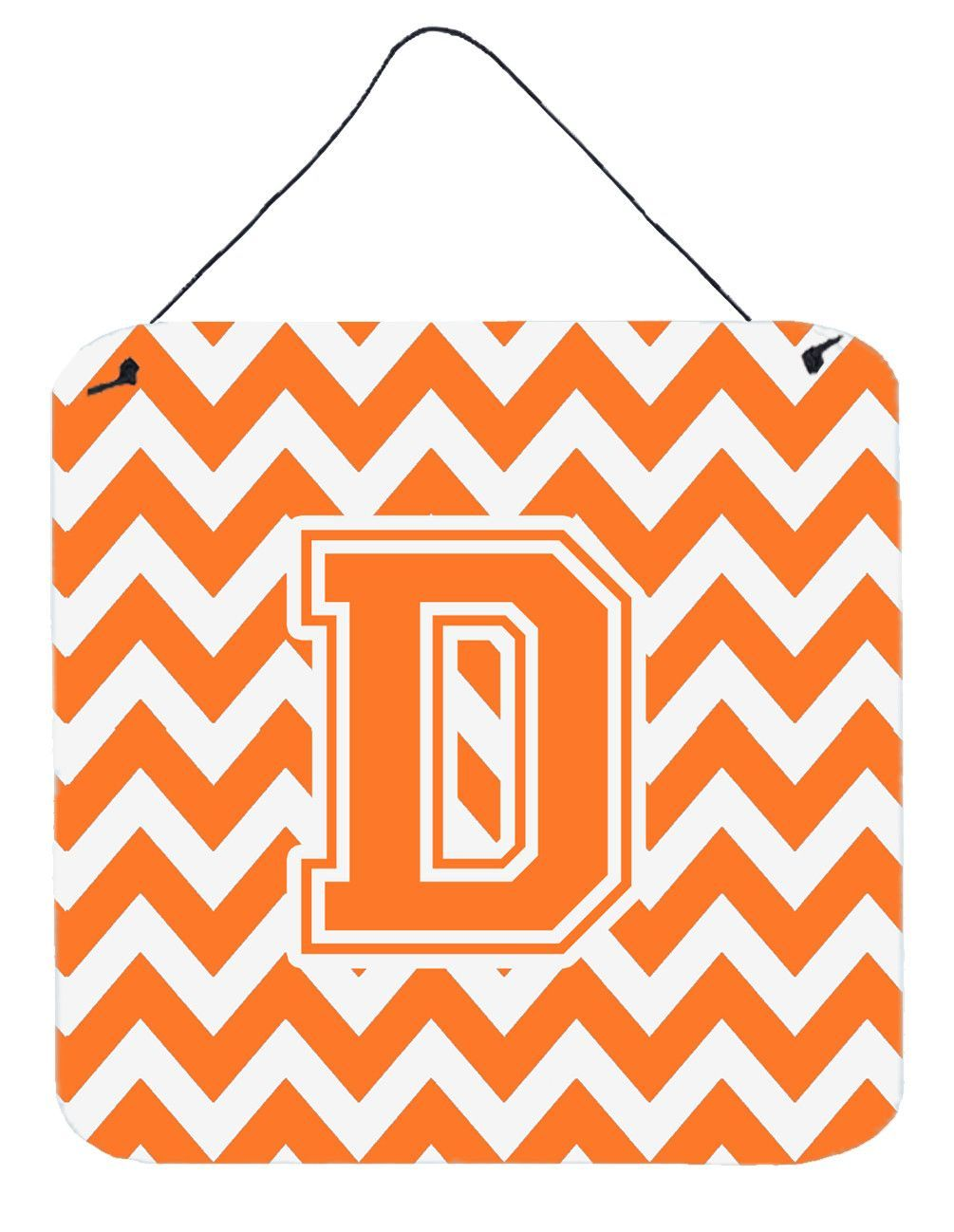 Letter d chevron orange and white wall or door hanging prints cj