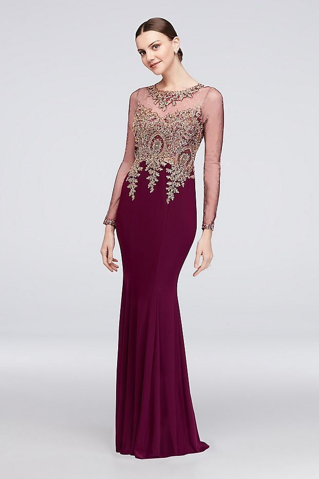 Corded Lace Illusion Long Sleeve Jersey Gown | David\'s Bridal ...