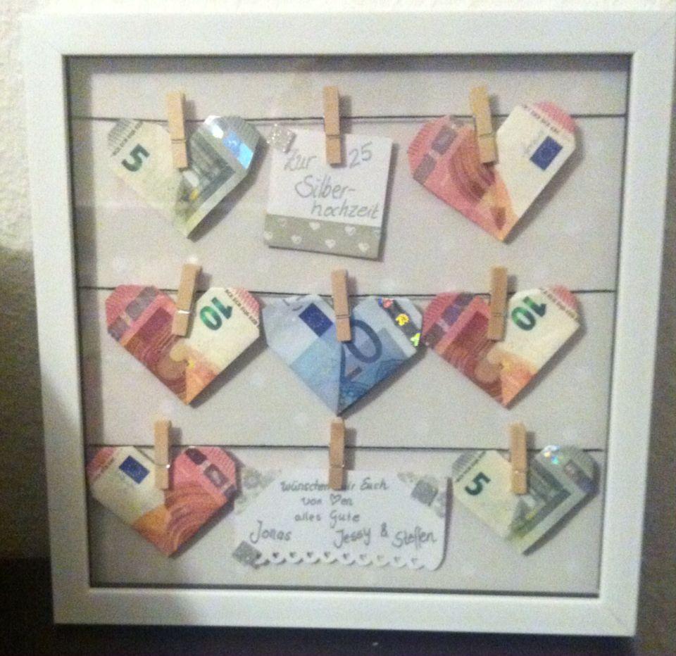 Geldgeschenk Silberhochzeit  Basteln  Hochzeit geschenk