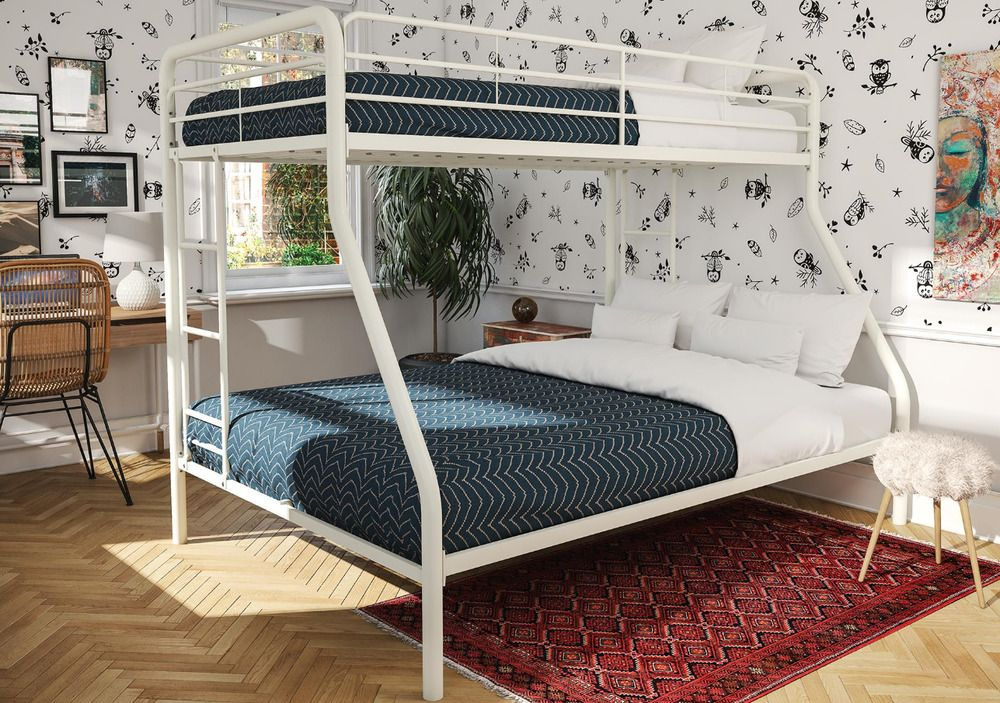 White Metal Twin Over Full Bunk Bed Frame Teens Space