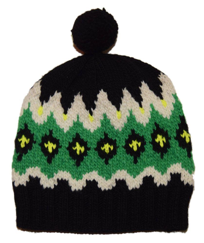 838af851a79 Polo Ralph Lauren Mens Merino Wool Ski Skull Knit Hat Cap Green Black  Yellow (eBay Link)