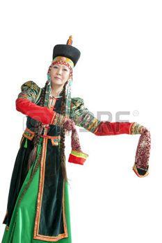 buryat: Woman dancing  national Buryat dance  - Yokhor ,isolated on white background