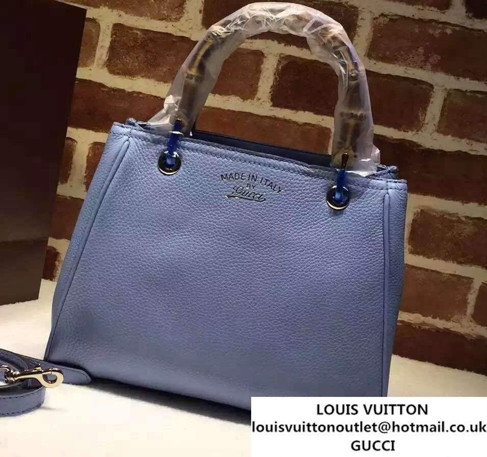f1b75e24705 Gucci Small Bamboo Shopper Leather Tote Bag 336032 Sky Blue