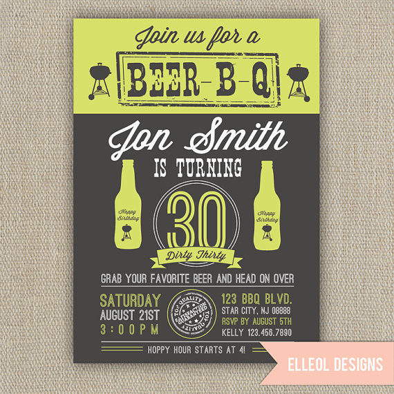 Beer BBQ 21st 30th 40th 50th Birthday Party Invitation By ElleOL Invitations