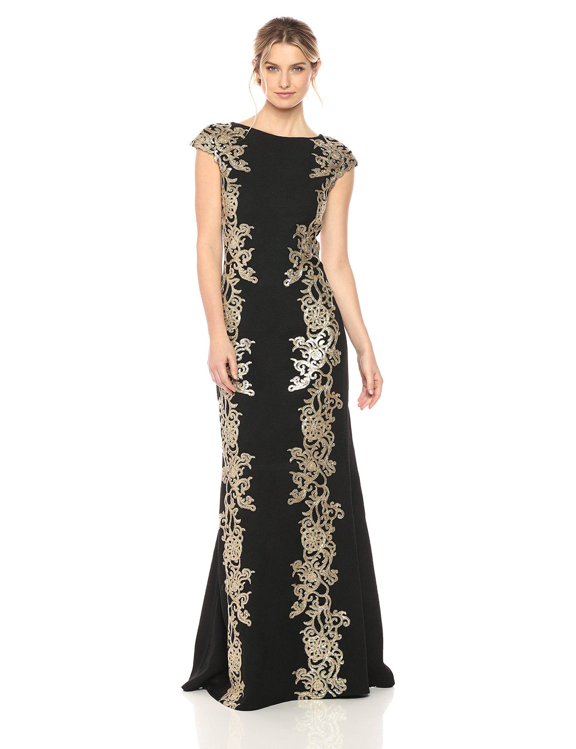 Tadashi shoji womens gold lace gown blackgold want to know