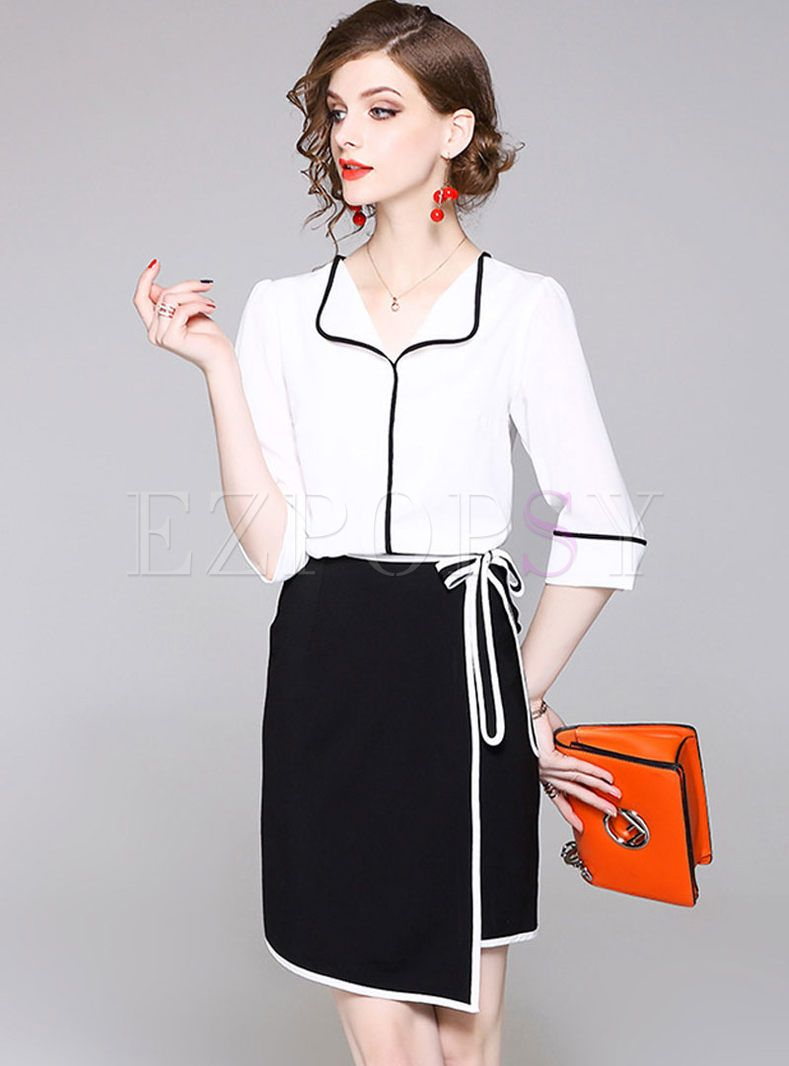 Commuting chiffon top u asymmetric bowknot skirt black white