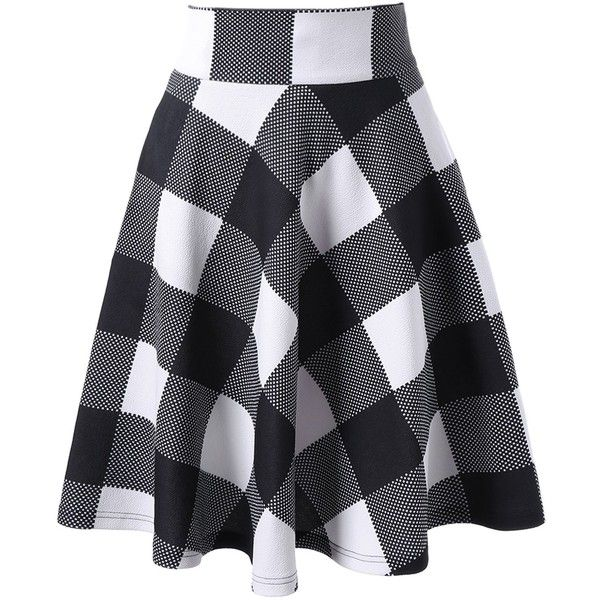 High Waisted Checked Skirt 13 Liked On Polyvore Featuring