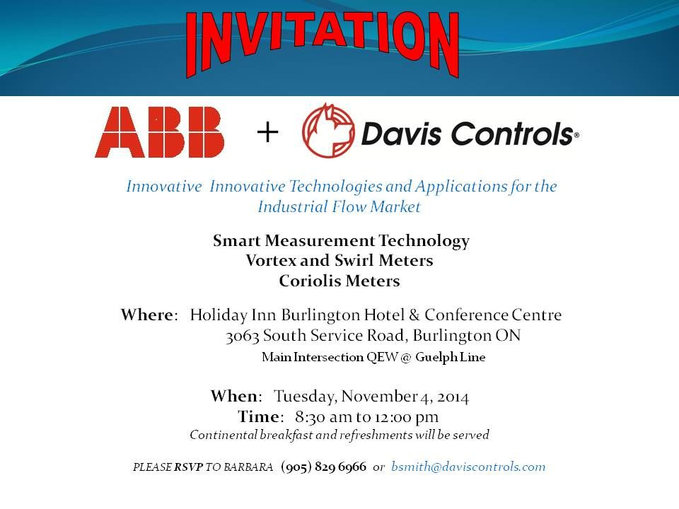 Invitation - ABB Measurement Products and #DavisControls Ltd