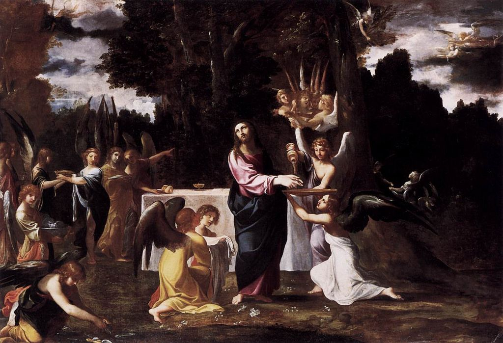 CARRACCI, Lodovico - Christ Served by Angels in the Wilderness  CARRACCI, Lodovico . (b. 1555, Bologna, d. 1619, Bologna). . Christ Served by Angels in the Wilderness. 1608-10. Oil on canvas, 157 x 225 cm. Staatliche Museen, Berlin.