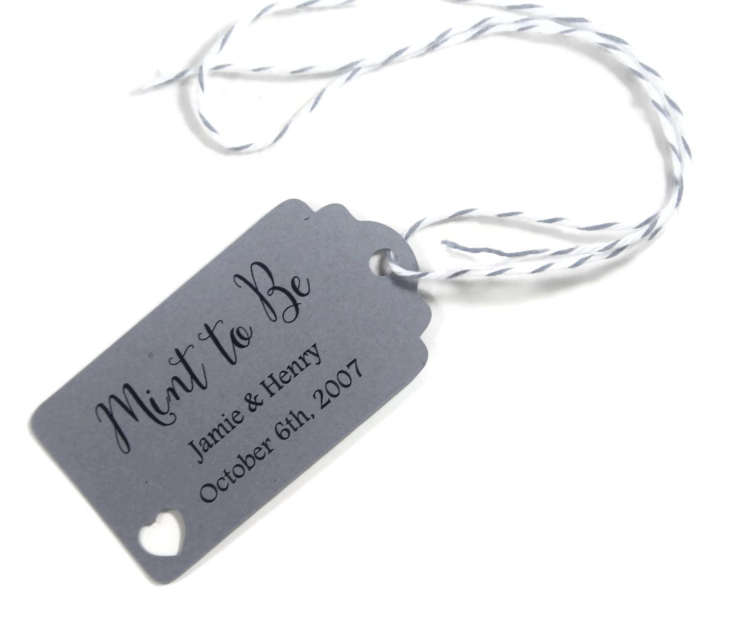 Mint to Be Grey Wedding Favors Set of 20 - Personalized Tags - Grey ...