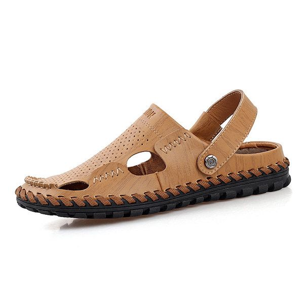 Leather · Men Leather Hollow Out Breathable Two Way Wearing Slip On Beach  Slipper Sandals. Slipper SandalsMen s SandalsGladiator SandalsSummer ... 1eec7b0242d