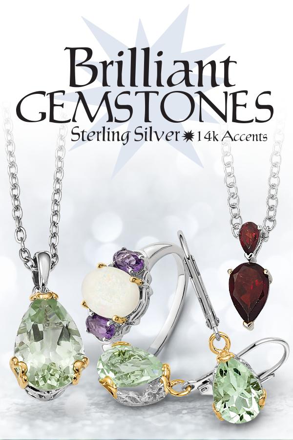 Brilliant Gemstones Sterling Silver /& 14k Gold Smokey Quartz and White Topaz and Diamond Necklace