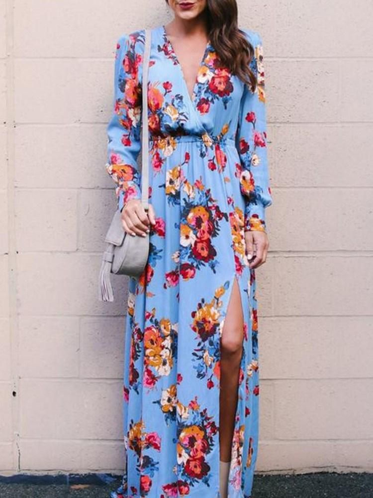 2446ad50a7a0 Material: Cotton Silhouette: Expansion Dress Length: Floor-Length Sleeve  Length: Long Sleeve Sleeve Type: Regular Neckline: V-Neck Combination Type:  Single ...