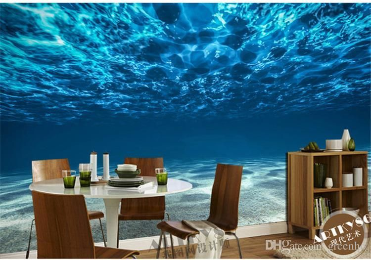 Charming Deep Sea Photo Wallpaper Custom Ocean Scenery Large Mural Wall Painting Room Decor Silk