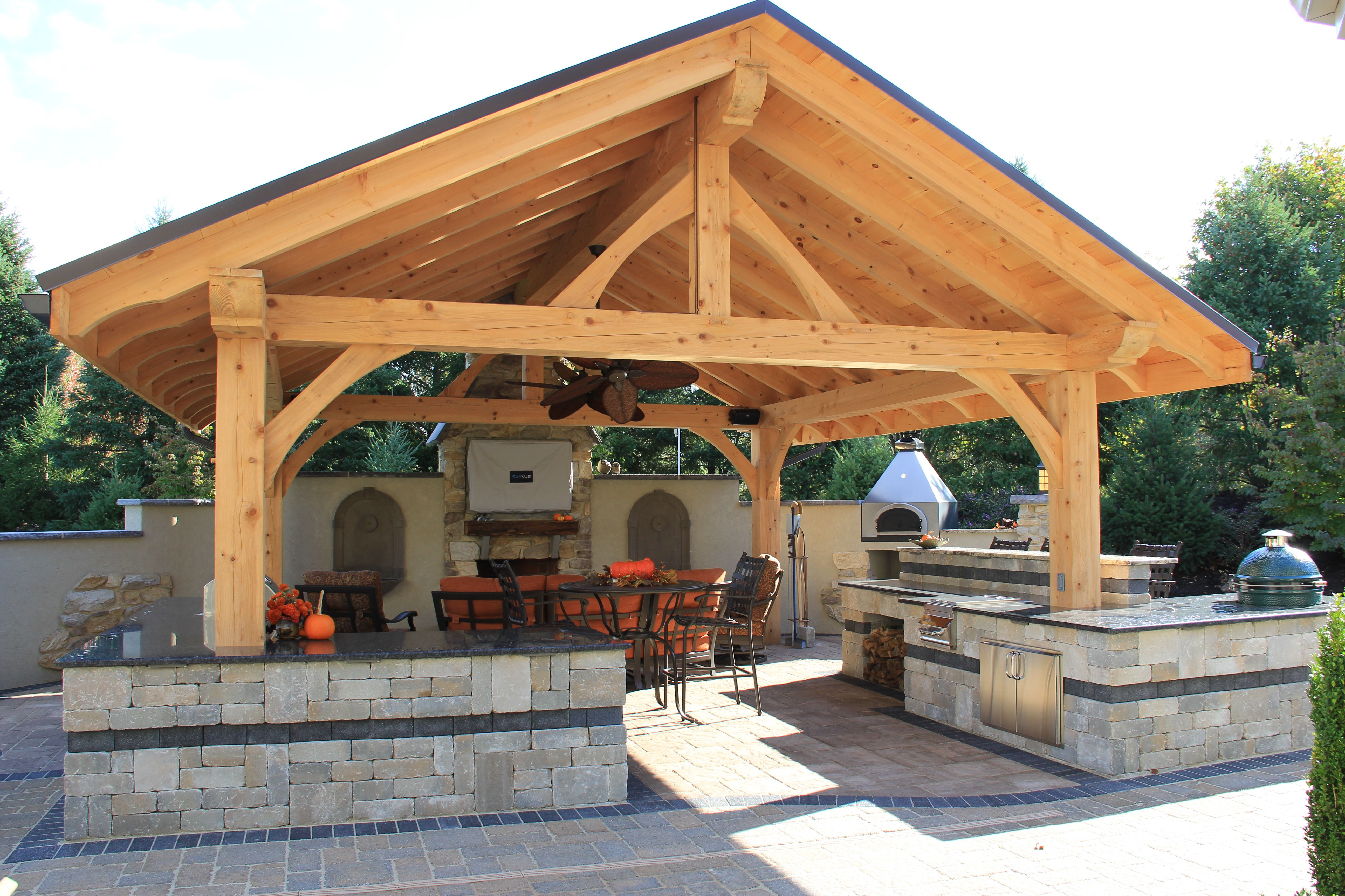 Timber Frame Pavilion With Full Outdoor Kitchen Including Pizza Oven Gas Range Outdoor Kitchen Outdoor Kitchen Design Outdoor Pavilion