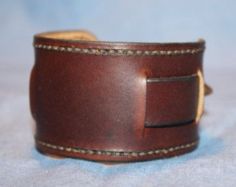 SALE Leather Cuff: Brown Leather Bracelet by EthosCustomBrands