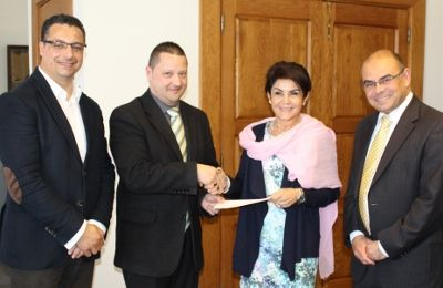 [L to R: Mr Roderick Agius, General Secretary and Mr Karl Wright, Chairman of the Institute of Maltese Journalists and Ms Tanya Borg Cardona, Chairperson of the Broadcasting Authority and Mr Pierre Cassar, CEO]