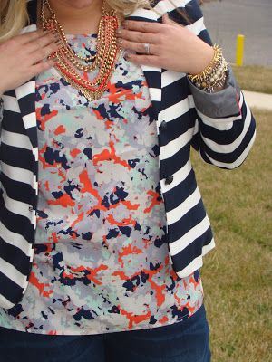 Gap, stripes and florals. Stella and Dot jewels. Mommy in Heels blog